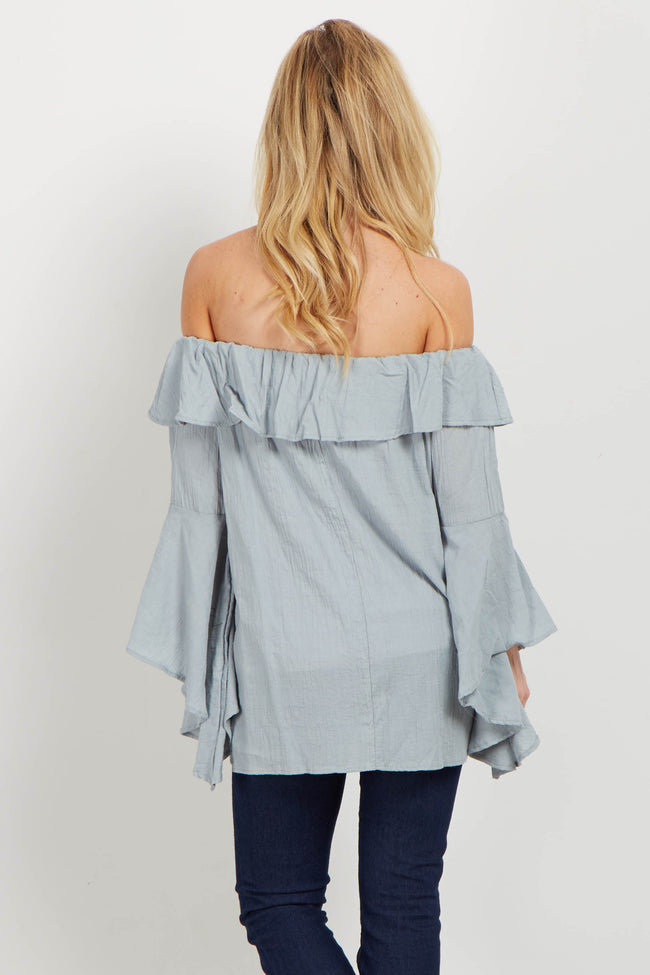 Light Blue Ruffle Off Shoulder Blouse