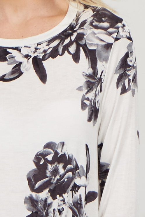 Ivory Floral Asymmetrical Top