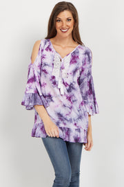 Purple Tie Dye Cold Shoulder Crochet Top