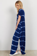 Royal Tie Dye V Neck Maxi Dress
