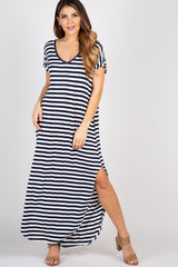 Navy Striped V Neck Maternity Maxi Dress