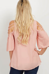 Pink Crisscross Cold Shoulder Maternity Blouse