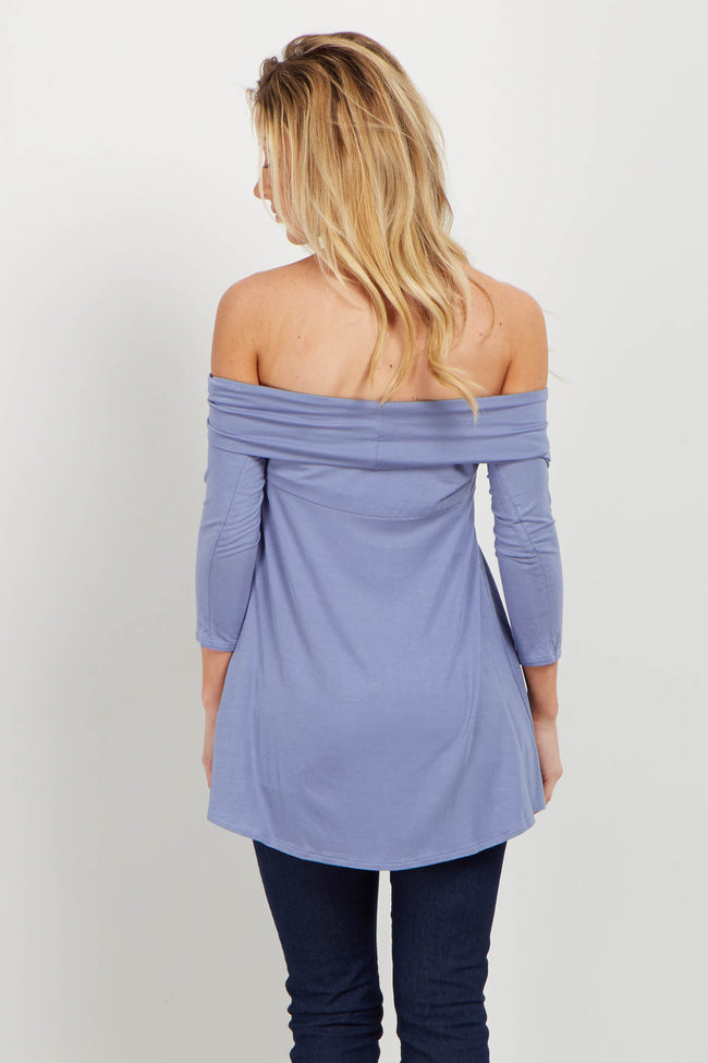Blue Off Shoulder Draped Bamboo Top