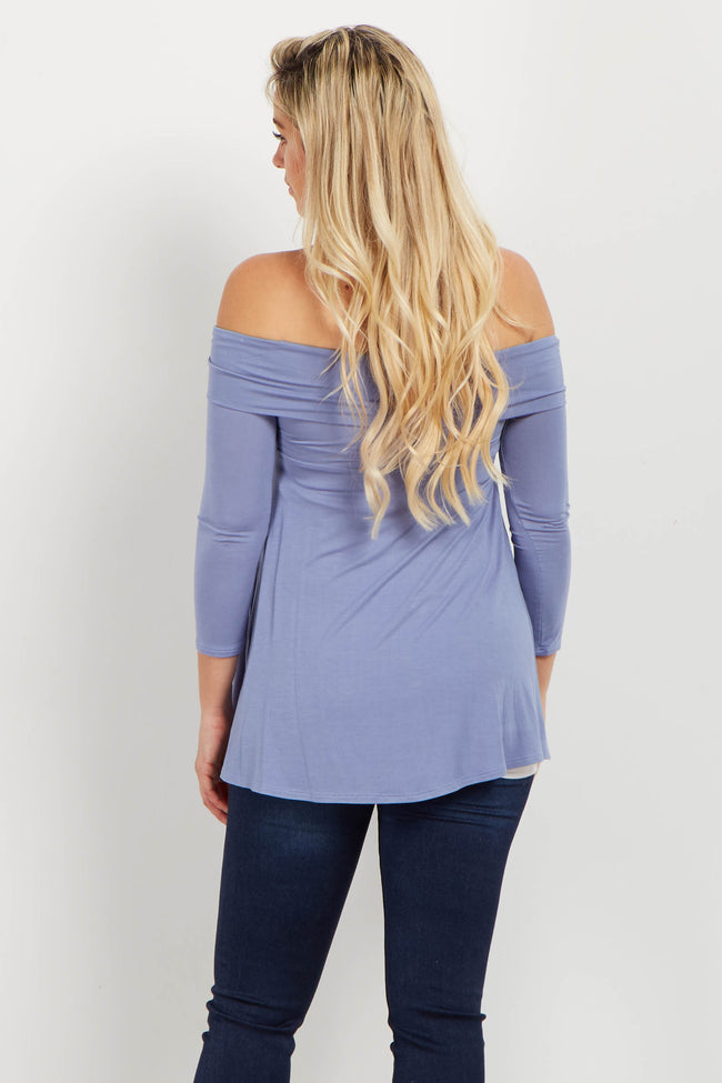 Blue Off Shoulder Draped Bamboo Maternity Top
