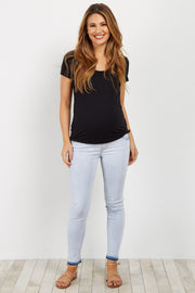 Light Blue Raw Cut Maternity Skinny Jeans