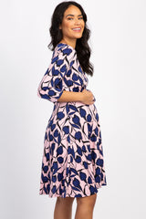 Light Pink Abstract Sash Tie Maternity/Nursing Wrap Dress