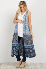 Blue Multi-Print Sleeveless Long Maternity Cover Up