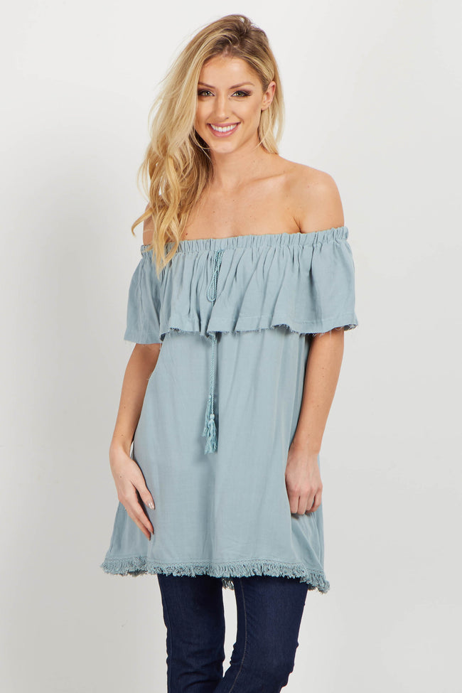 Light Blue Fringed Off Shoulder Maternity Top