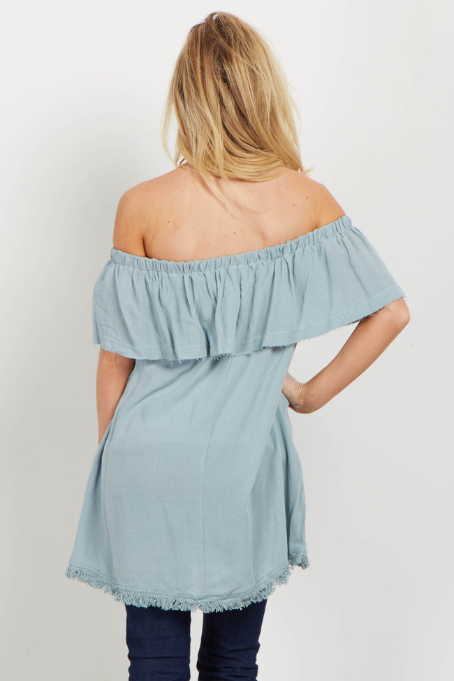 Light Blue Fringed Off Shoulder Top