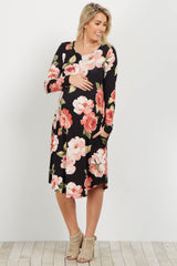 Black Floral Long Sleeve Maternity Dress