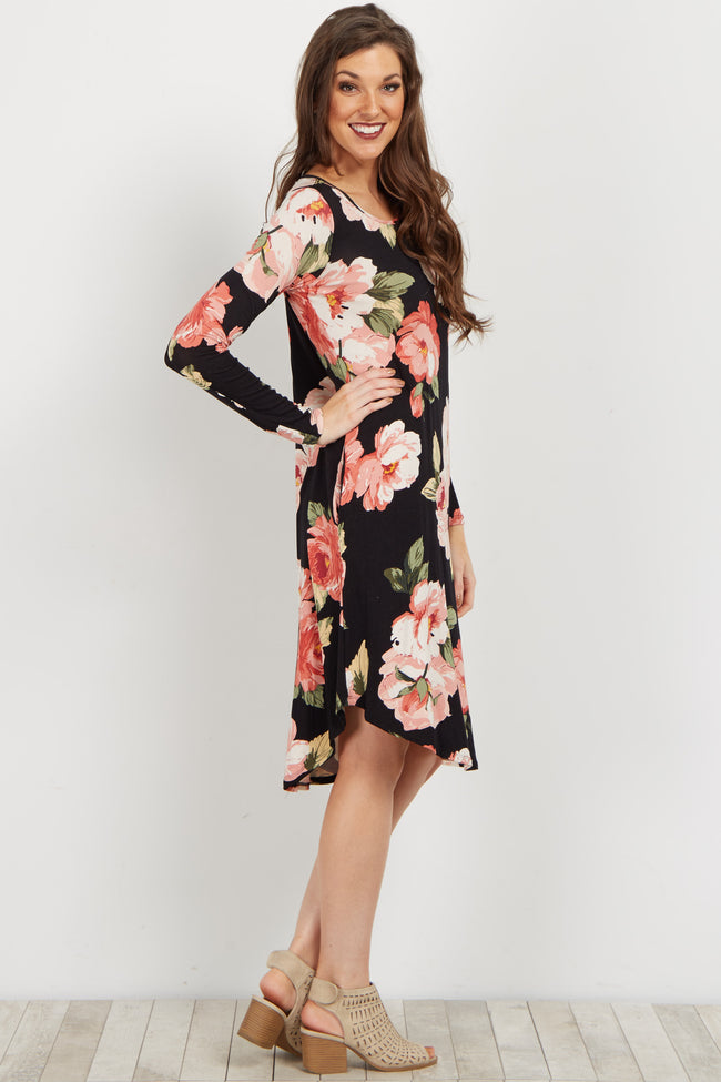 Black Floral Long Sleeve Dress