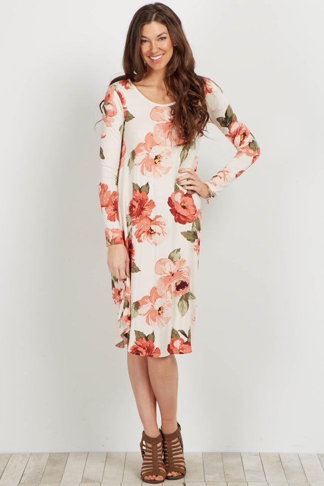 Ivory Floral Long Sleeve Dress