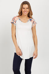 Pink Floral Colorblock Short Sleeve Maternity Top