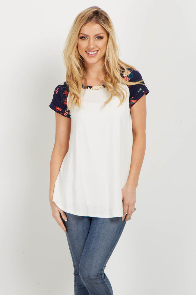 Navy Floral Colorblock Short Sleeve Maternity Top
