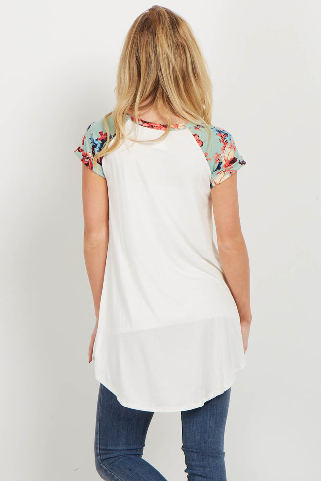 Mint Floral Colorblock Short Sleeve Top