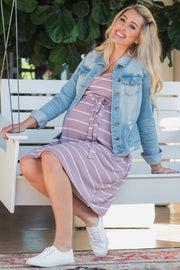 Lavender Striped Sleeveless Sash Tie Maternity Dress