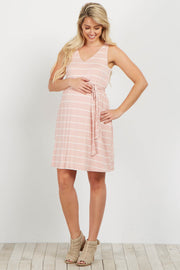 Light Pink Striped Sleeveless Sash Tie Maternity Dress