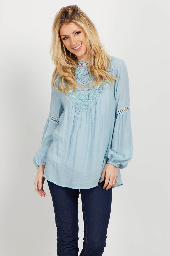 Light Blue Crochet High Neck Maternity Blouse