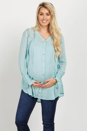 Mint Lace Floral Embroidered Maternity Tunic