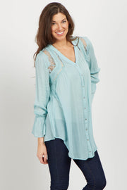 Mint Lace Floral Embroidered Tunic