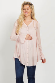 Light Pink Lace Floral Embroidered Maternity Tunic