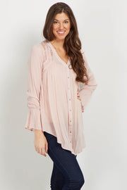 Light Pink Lace Floral Embroidered Tunic