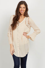 Taupe Lace Floral Embroidered Maternity Top
