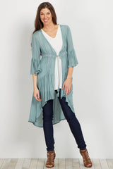 Blue Boho Hi-Low Bell Sleeve Maternity Cover Up