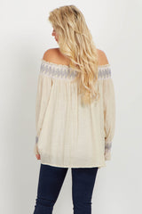 Beige Linen Embroidered Off Shoulder Maternity Blouse