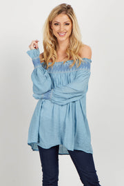Light Blue Linen Embroidered Off Shoulder Blouse