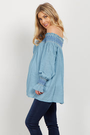 Light Blue Linen Embroidered Off Shoulder Maternity Blouse