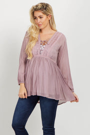Mauve Lace Up Crochet Linen Maternity Blouse