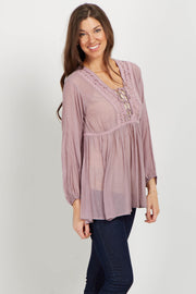Mauve Lace Up Crochet Linen Blouse