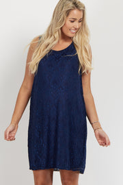 Navy Lace Maternity Dress