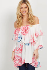 White Floral Off Shoulder Maternity Top