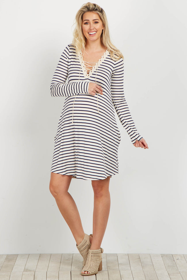 Ivory Striped Crochet Lace Up Maternity Dress