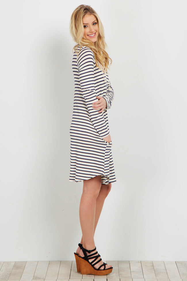 Ivory Striped Crochet Lace Up Dress