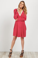 Red Striped Crochet Lace Up Maternity Dress