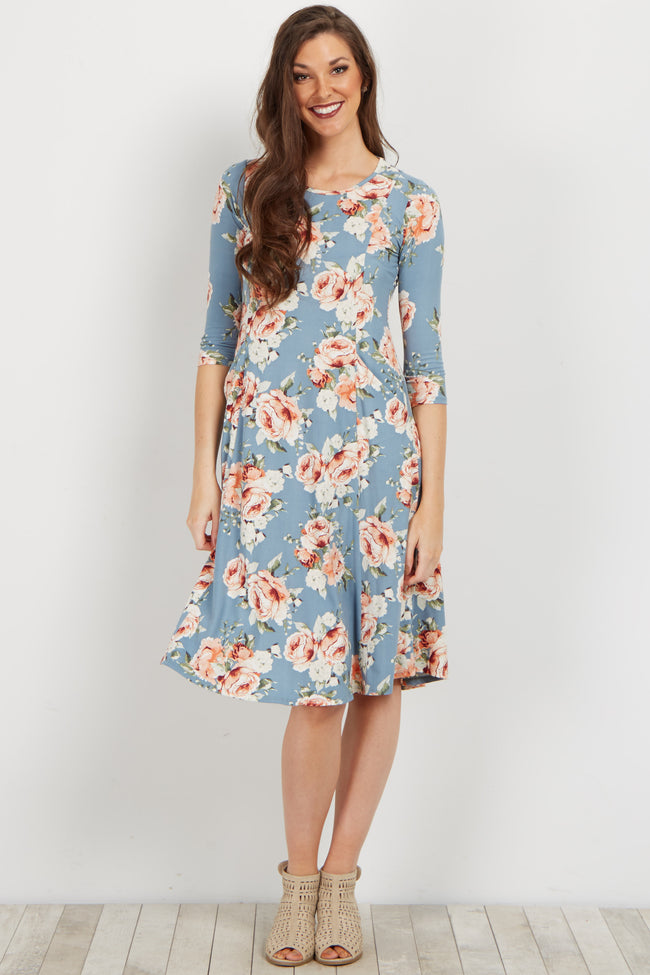 Blue Rose Printed Pocketed Dress