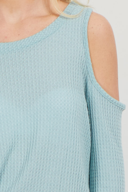 Aqua Cold Shoulder Thermal Knit Top