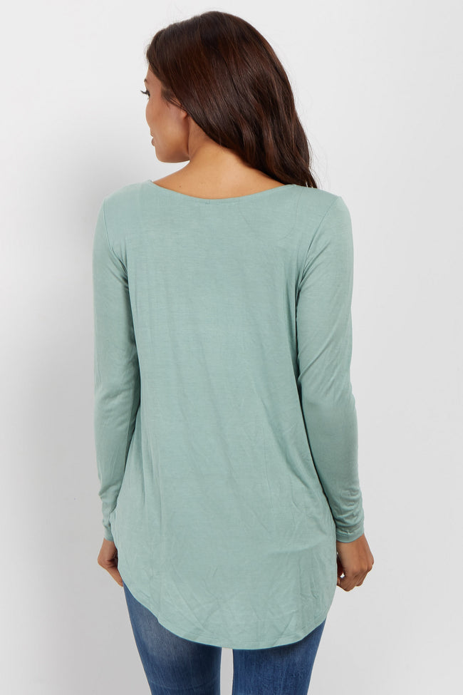 Olive Caged Front Long Sleeve Maternity Top