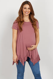 Mauve Ruffle Trim Asymmetrical Maternity Top