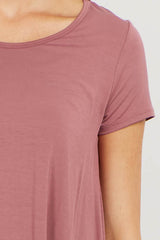 Mauve Ruffle Trim Asymmetrical Top