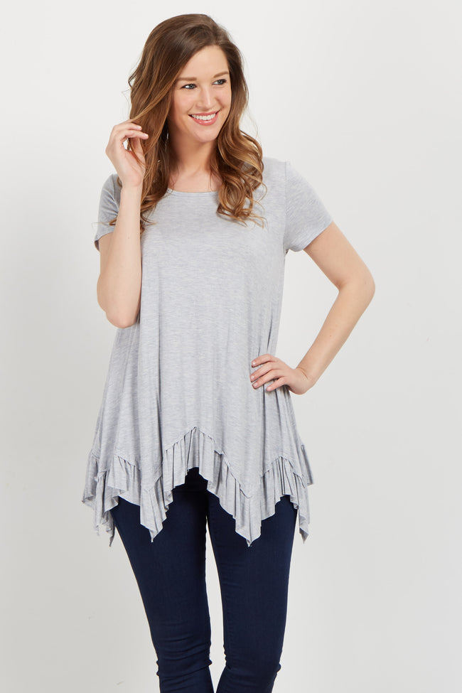 Heather Grey Ruffle Trim Asymmetrical Maternity Top