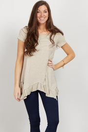 Beige Ruffle Trim Asymmetrical Top
