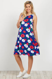 Royal Floral Sleeveless Maternity Shift Dress
