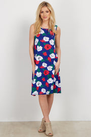 Royal Floral Sleeveless Shift Dress