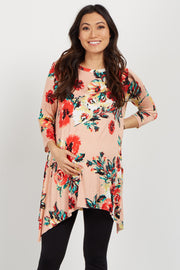 Pink Floral Asymmetrical Maternity Top