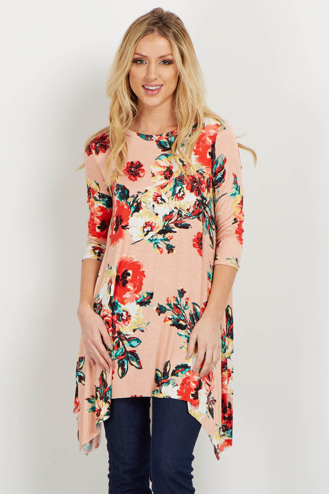 Pink Floral Asymmetrical Top
