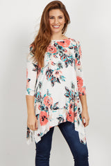 Ivory Floral Asymmetrical Maternity Top